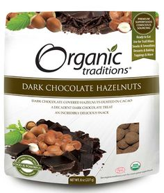Organic Traditions Dark Chocolate Covered Hazelnuts combine two delicious foods into a healthy and nutritious snack. Chocolate was once so revered by the Mayans and the Aztecs that it was used as currency. Hazelnuts have had a long history of being a nourishing superfood for many cultures. Certified Organic dark chocolate covered hazelnuts are lightly dusted in cocoa powder to create the most delicious dark chocolate treat you have ever tried.