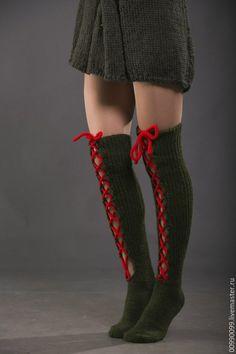 """Купить Чулочки """"Новогодняя хвоя"""" - тёмно-зелёный, однотонный, чулки, чулочные изделия, гольфы"""