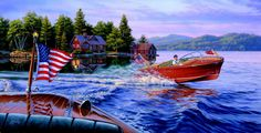 Classic Chris Craft wood boats  In The Wake of A Legend by Darrell Bush Art