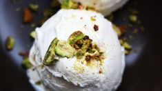Cardamom flavored frozen dessert made with condensed and evaporated milk, white bread and whipped topping.