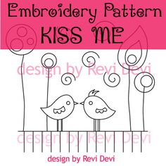 Kiss me embroidery pattern pdf.. Instant download.. by revidevi