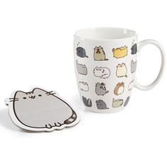 Department 56 Pusheen Mug & Coaster Set (47 BRL) ❤ liked on Polyvore featuring home, kitchen & dining, white, department 56 and white stoneware