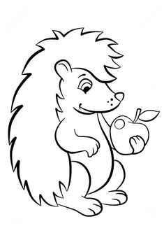 Hedgehog with Apple Coloring Pages Apple Coloring Pages, Free Kids Coloring Pages, Family Coloring Pages, Bunny Coloring Pages, Spring Coloring Pages, School Coloring Pages, Printable Coloring Pages, Coloring Pages For Kids, Coloring Books