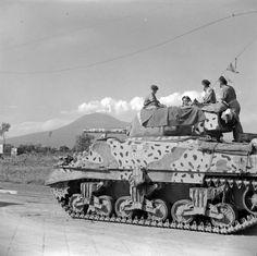 """Camoflauged British M4 Sherman Mk III of the Royal Scots Greys (2nd Dragoons), tank named """"Sheik"""". Italy September 1943."""
