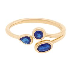 """AYA by Chelsy Davy """"""""Matusadona"""""""" Sapphire Ring ($1,200) ❤ liked on Polyvore featuring jewelry, rings, sapphire jewellery, sapphire jewelry, 18 karat gold jewelry, sapphire ring and 18k jewelry"""