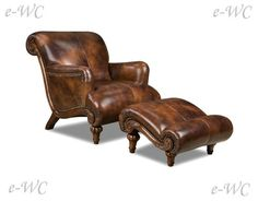 Mmm, gorgeous chocolate leather chair and ottoman. Love the curves . . .
