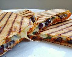 Roasted sweet potato and black bean quesadillas - close up