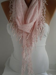 Pink  Shawl and Scarf  Headband  Cowl with Lace Edge by DIDUCI, $15.90