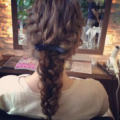Double french braid into a single braid Plaits Hairstyles, Bride Hairstyles, Single Braids Styles, Curly Hair Styles, Natural Hair Styles, Special Occasion Hairstyles, Hair Arrange, Hair Setting, Playing With Hair