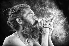 A Sadhu man taking part in a spiritual ritual in Haridwar, India.