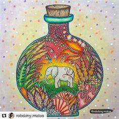 #Repost @robdany.matos with @repostapp ・・・ Meu elefantinho na garrafa. #pintura3meta2017 Fundo da garrafa inspirado / Bottle's background inspired By @coloringpastime 🎨Maratona do grupo de colorir @avidaebelasz 📚Livro: Selva Mágica - Johanna Basford. #arte_e_colorir #beautifulcoloring #boracolorirtop #colorindolivrostop #colorindoterapia #coloring_secrets #desenhoscolorir #fangcolourfulworld #jardimsecretofans #jardineirasdelaço #johanna_basford #magicaljunglebooks #majesticcoloring…