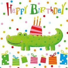 Happy Birthday Kind, Happy Birthday Pictures, Art Birthday, Happy Birthday Greetings, Birthday Greeting Cards, Birthday Wishes, Illustrator Video, Alligator Crafts, Happy Bird Day