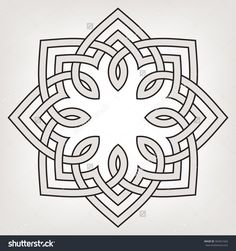 Round Vector Ornament With Overlapping Geometric Shapes. Eight Pointed Circular Pattern. Mandala. - 302921663 : Shutterstock