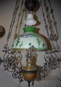 Antique Art Nouveau Iron Brass Floral Hanging Oil Lamp | eBay
