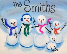 I am going to paint Personalized Snowman Family at Pinot's Palette - Dubuque to discover my inner artist!