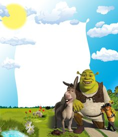 Kids PNG Photo Frame with Shrek