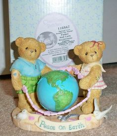Cherished Teddies SIGNED Parker and Carly LE Spread Love Around the World 2003