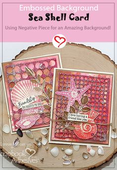 Use your leftover 3D Foam Circle sheet to create an amazing embossed background like Connie Mercer did with her Sea Shell card. Check out her card making tutorial on the blog. Just Click the Image to take you there! #sbadhesivesby3l #craftadhesives #wearyouradhesiveontheoutside #cardmakingidea #handmadecard #seashells Card Making Tutorials, Craft Tutorials, Craft Ideas, Sea Shells Image, Embossing Pen, Leaf Images, Ranger Ink, Distress Oxide Ink, Cool Backgrounds