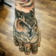 owl.hand tattoo - Google Search