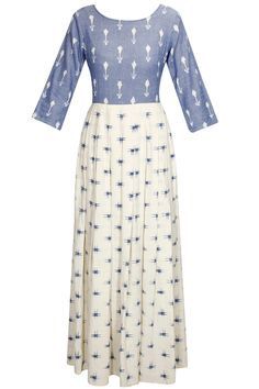 Off-white and blue ikat printed long dress available only at Pernia's Pop-Up Shop.