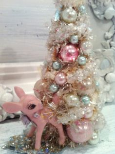 Vintage Pink Christmas Bottle Brush Tree Vintage Baby Deer Fawn Figurine | eBay