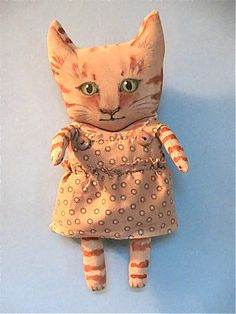 cat art doll original meow Gracie  girl kitty by sandymastroni, $48.00