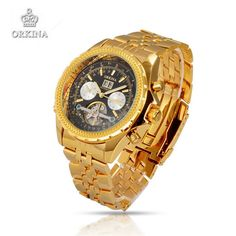 Orkina Men Luxury Brand Wristwatches Stainless Steel Mechanical Watches Military Business Golden/Silver Watch Gift For Men