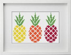 This pattern includes: - image of finished design - stitch diagram color with DMC stranded cotton - stitch diagram black Cross Stitch Fruit, Cross Stitch Kitchen, Cute Cross Stitch, Cross Stitch Charts, Cross Stitch Designs, Cross Stitch Patterns, Stitching On Paper, Cross Stitching, Needlepoint Patterns