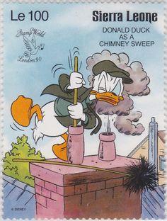 "Donald como limpiachimeneas ""Stamp World London '90"" 1990 Sierra Leona"