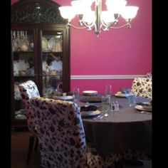 Pink dining room!