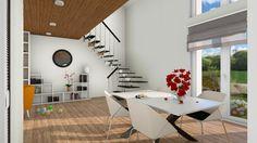 Maison moderne avec étage en mezzanine. Grande maison familiale ...