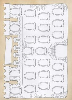 A castle template for games or could put the names and dates of reigns of kings/queens, etc. Fairy Tale Theme, Fairy Tales, Colouring Pages, Free Coloring, Orla Infantil, Chateau Moyen Age, Feasts Of The Lord, Medieval Crafts, Printable Board Games