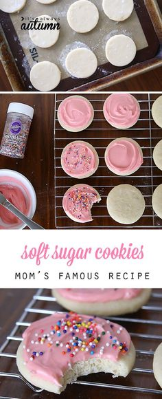 This is, hands down, the best soft sugar cookie recipe, complete with amazing cream cheese frosting. So much better than store-bought! food deserts Soft Sugar Cookies With Cream Cheese Frosting Low Carb Dessert, Oreo Dessert, Cookie Desserts, Cookie Favors, Pink Desserts Easy, Cookie Cups, Baking Desserts, Summer Desserts, Cookie Dough