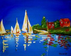 sailboats acrylic painting print 8x10 lake by AffordableARTbyRonda