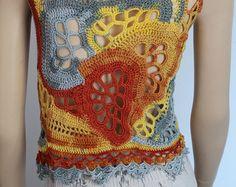 Crochet Tops Ivory Cotton  Freeform Crochet Tank  Summer
