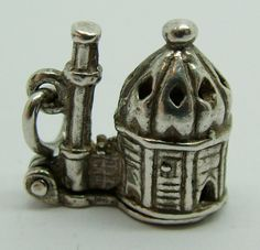 1960's Silver Opening Nuvo Mosque Charm Man Praying Inside