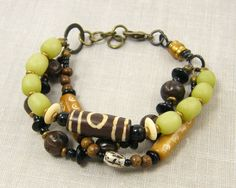 Three Strand Bracelet in Olive Green Caramel Tan by CharleneSevier