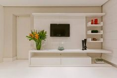 sala tv / tv room - this only works because it's not a real home and unnervingly tidy (if only I could be that tidy! Decor, House Design, Home, Living Dining Room, Salas Living Room, Tv Unit Decor, House Interior, Living Room Tv Unit Designs, Living Room Designs