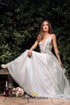 The Angie wedding dress is boho and glam. Every detail has been delicately crafted by our highly skilled team of artisans. Every petal has been made with love and joy for you. Bridal Wedding Dresses, Different Shapes, I Dress, Wedding Ideas, Joy, Bride, Detail, Elegant, Outfits