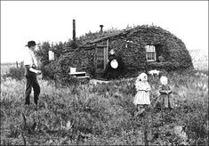 Sod home of John and Marget Bakken, Milton, N.D., circa 1895. This photograph  was the basis for the U.S. Homestead Act, 1862-1962 commemorative stamp.