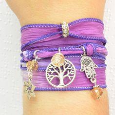 Jewish Silk Wrap Bracelet, Judaica Silk Wrap Bracelet, Star of David Silk Wrap Bracelet, Tree of Life Silk Wrap Bracelet, Hamsa Silk Wrap Bracelet by Beadtography