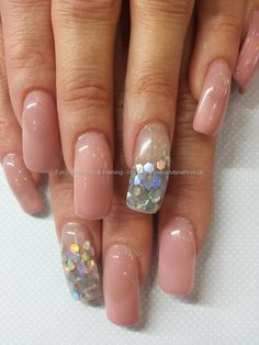 Cover pink gel with silver inlaid foil disks