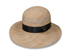 "Sunny Halo - A Goorin Everyday asymmetrical straw with 2""-4"" brim, 5"" crown and 1 1/2"" textured satin band with loop label. Raffia body with vented crown. German wicking sweatband."