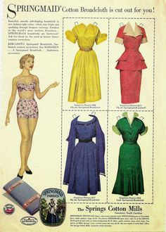 Springmaid Advertising Paper Doll c. 1954