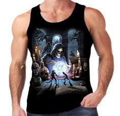 Velocitee Mens Vest Reaper Spell Grim Death Horror Evil Goth Gothic Magic A18000 #Velocitee