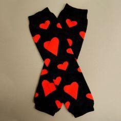 Hearts Leg Warmers -black &red