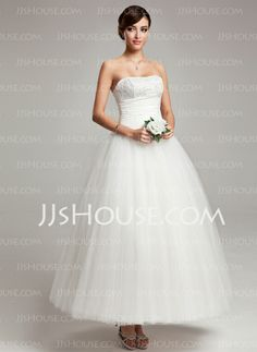 Wedding Dresses - $156.99 - Ball-Gown Sweetheart Ankle-Length Chiffon Tulle Wedding Dress With Ruffle Lace (002017565) http://jjshouse.com/Ball-Gown-Sweetheart-Ankle-Length-Chiffon-Tulle-Wedding-Dress-With-Ruffle-Lace-002017565-g17565