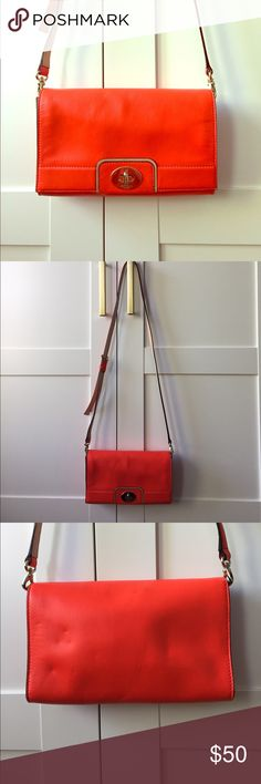 Kate Spade Cross-body Clutch Bright orange-red Kate Spade cross-body clutch - the perfect pop of color for Spring/Summer, gently used. kate spade Bags Crossbody Bags