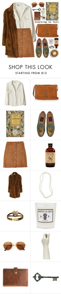 """""""suede a-line skirt"""" by jesuisunlapin ❤ liked on Polyvore featuring To Be Adored, Yves Saint Laurent, Soaked in Luxury, Nordstrom, Astier de Villatte, Gianfranco Ferré, Louis Vuitton, Pier 1 Imports and vintage"""