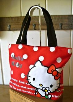 1ee497d08 Amazon.com: Hello Kitty Canvas Bag with Dots (red): Clothing